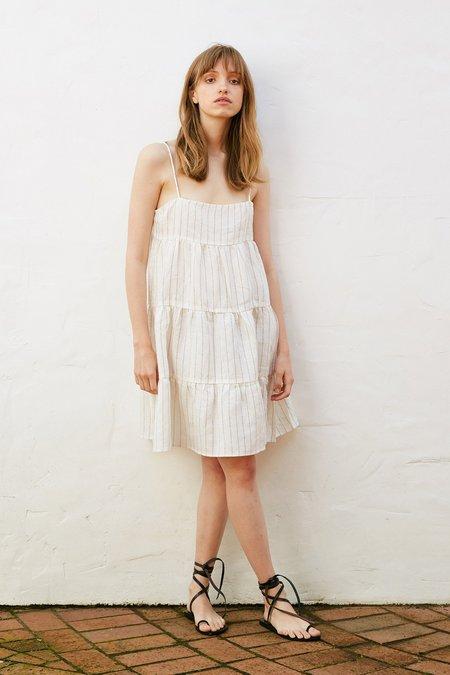 MARLE Amelia Dress - Ivory/Natural Stripe