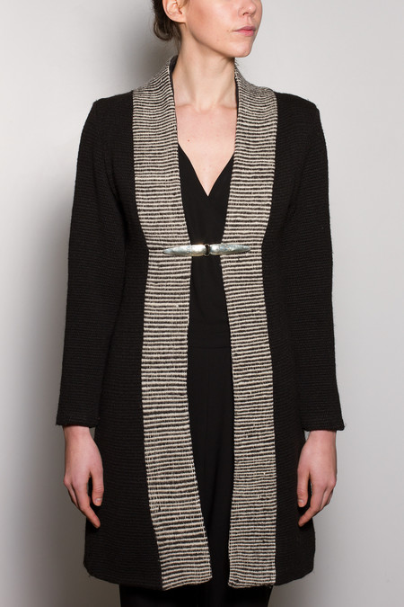 VOZ Textile Lapel Coat - Black/White