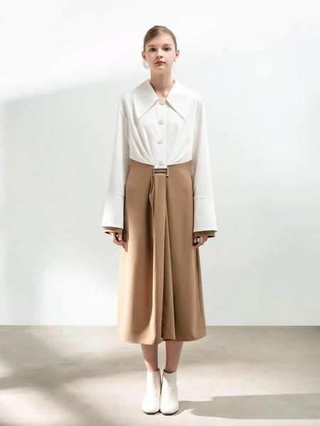 BLANCORE Color Block Shirt Dress - White/Beige
