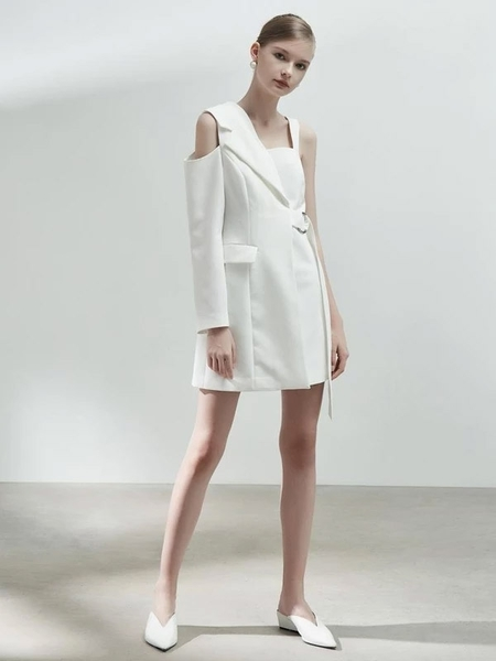BLANCORE Blazer Style Asymmetrical One Shoulder Dress