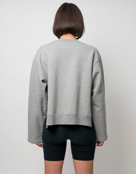 MM6 Maison Margiela Backward Logo Crop Sweatshirt - Heather Grey