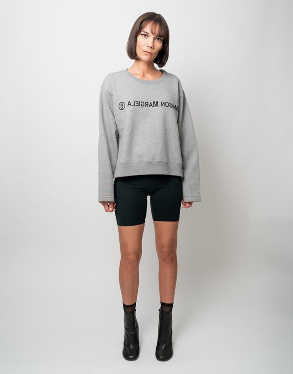 MM6 Maison Margiela Backward Logo Crop Sweatshirt - Heather Grey