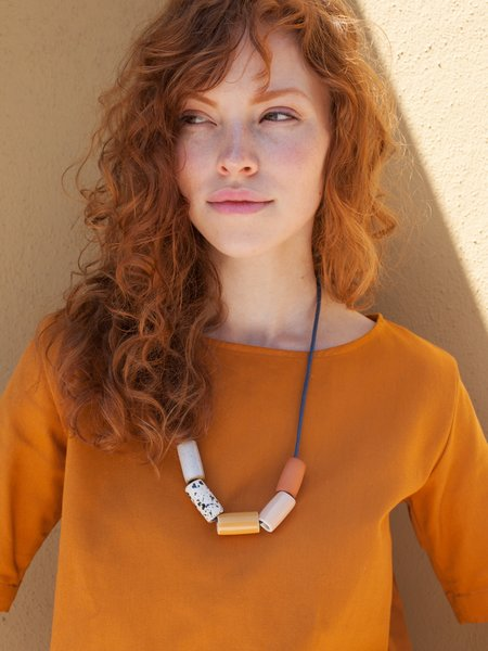 The Pursuits of Happiness Ceramic Bead Necklace - Mustard