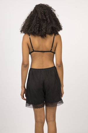 Botanica Workshop Cupro Vegan Silk Billie Midi Shorts - Black
