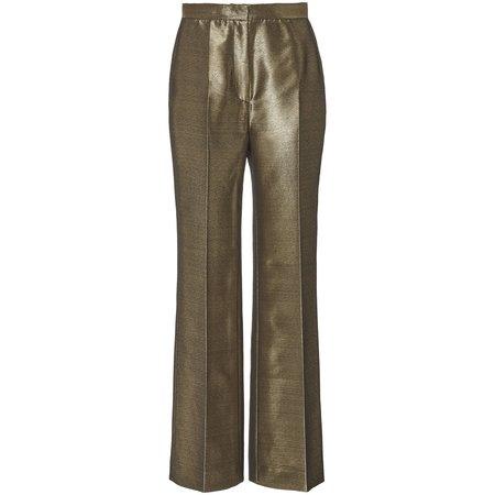 ALEXACHUNG High Waisted Metallic Trouser - Gold