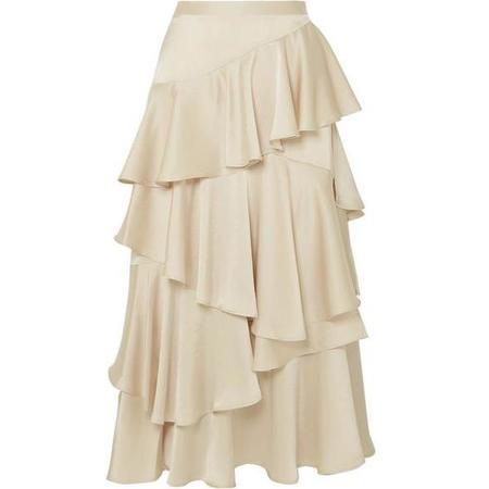 ALEXACHUNG Long Tiered Ruffle Skirt - Champagne