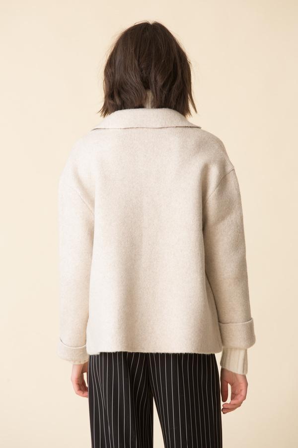 ATM Novelty Blend Sweater Jacket - Oat