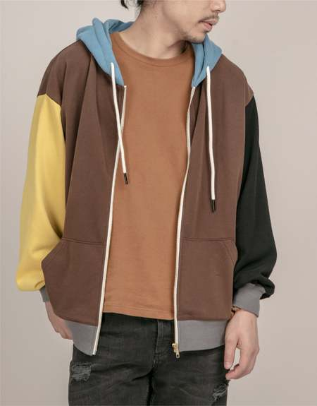 Unisex MATTER MATTERS Colourblock full zip hoodie - Brown/Yellow/Blue