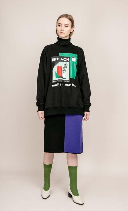 MATTER MATTERS Colourblock button knit skirt - Black/Purple
