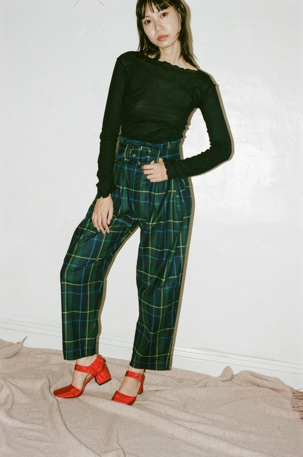 Suzanne Rae Plaid Wool Paperbag Trousers