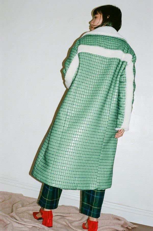Suzanne Rae Tech Cuadricula Long Pocket Coat