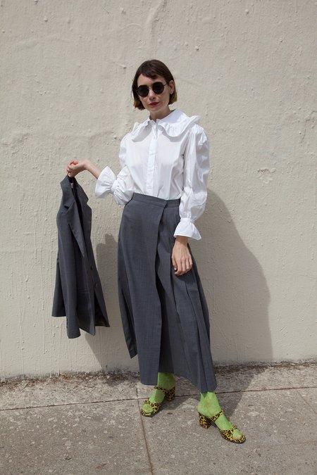 Maryam Nassir Zadeh Umbra Skirt in Lightweight Suit Graphite