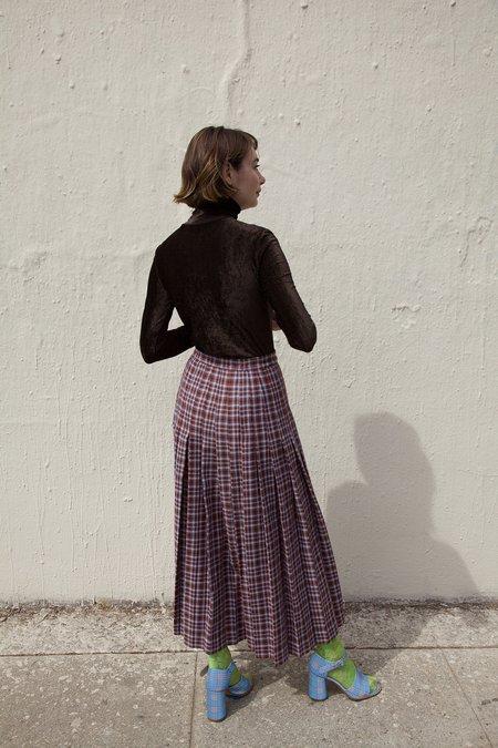 Maryam Nassir Zadeh Umbra Skirt in Plaid Wool Mulberry