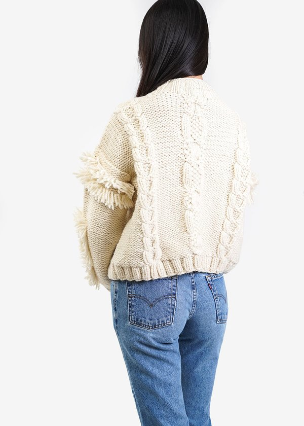 Kordal Cable Knit Fringe Sweater