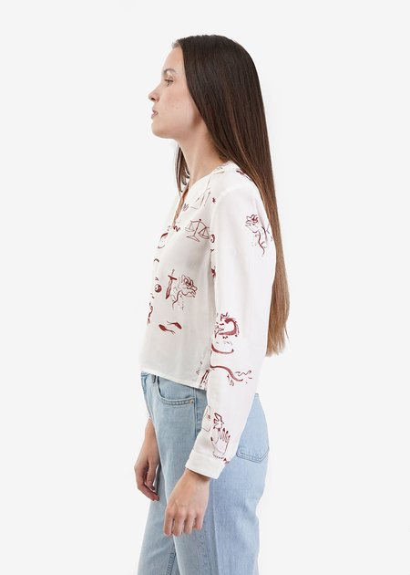 Paloma Wool Tarot Blouse in Roulette Print/Cream