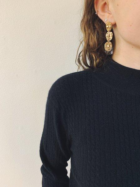 Yu Yu Shiratori triple face drop earrings - brass