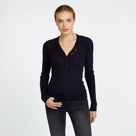 Autumn Cashmere Ribbed Button V-Neck Sweater - Black