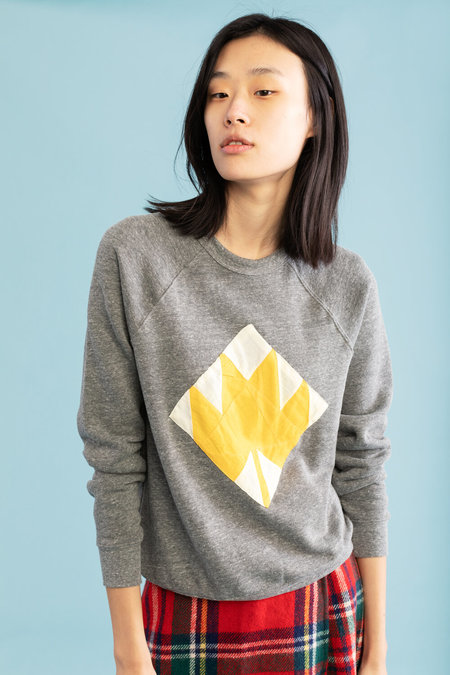 Carleen Gold Maple Leaf Sweatshirt - Heather Grey