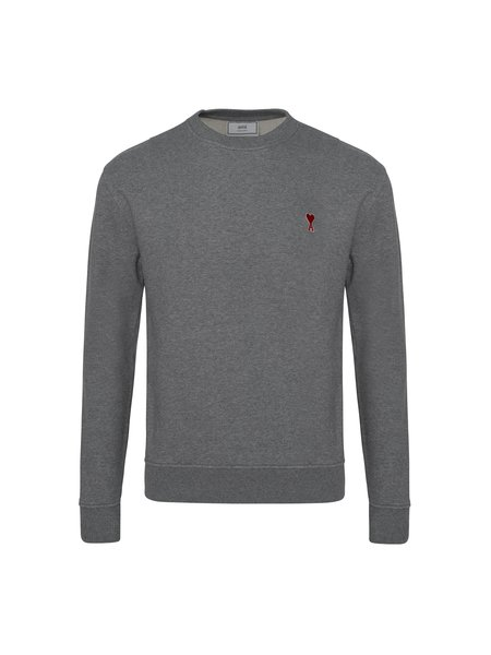 Ami Crewneck Sweatshirt with Red Ami de Coeur Patch - Heather Grey