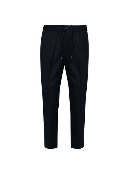 AMI Elasticized Waist Cropped Fit Trousers - Navy