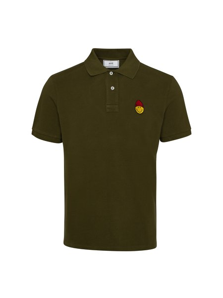 AMI Short Sleeve Polo Shirt with Smiley Patch - Olive