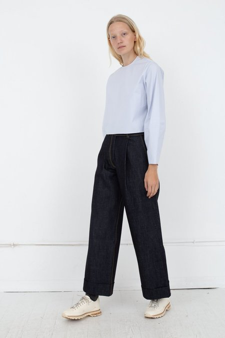 Studio Nicholson Wide Leg Pants With Turn Up Hem - Denim