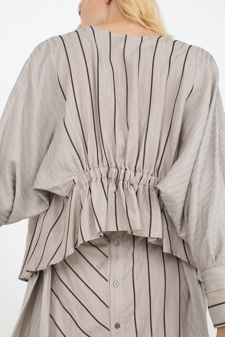 Rito Two Pattern Combinated Blouse - Grey