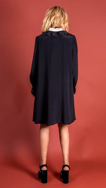 Tara Jarmon Rimatara Dress with White Bow - Midnight Blue