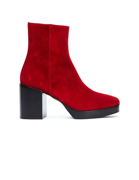 A.F.Vandevorst Suede Round Toe Ankle Boots - Red