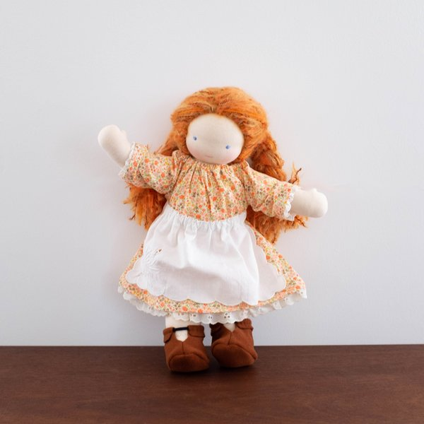 Kids Shop Merci Milo Waldorf Doll with Red Hair - Floral Orange Dress