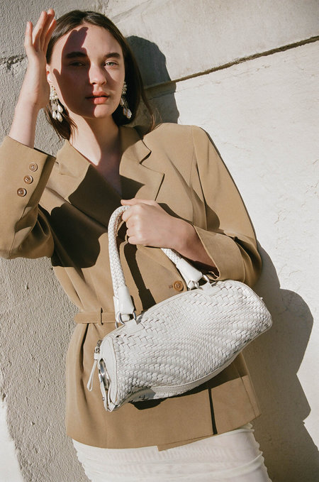 VINTAGE Cole Haan Woven Handbag - WHITE