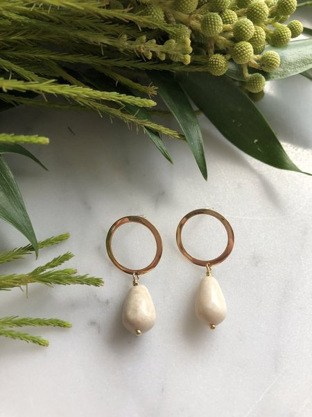 FLORA CICCARELLI riverstone drop hoops - GOLD