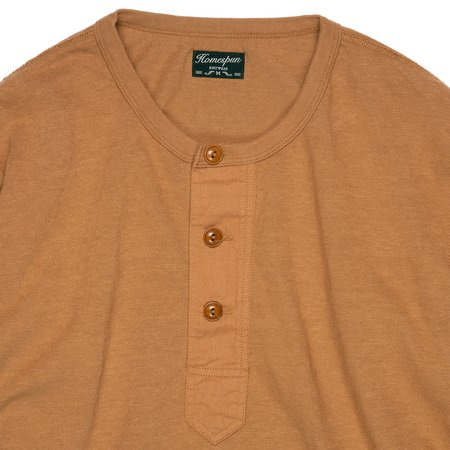 Homespun Knitwear Surplus Henley - Tobacco