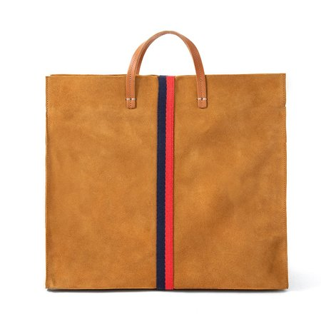 Clare V. Simple Tote - Camel Suede with Navy and Red Cotton Webbing Stripes