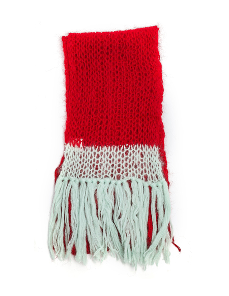 Sue Undercover Mohair Scarf - Red/Green