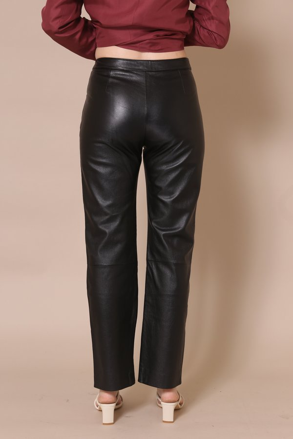 """INTENTIONALLY __________."" ARCHIVE 0182 PANTS - Black Leather"