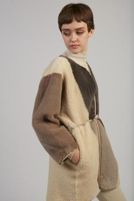 Milena Silvano Long Kimono Shearling Coat - Brown Combo