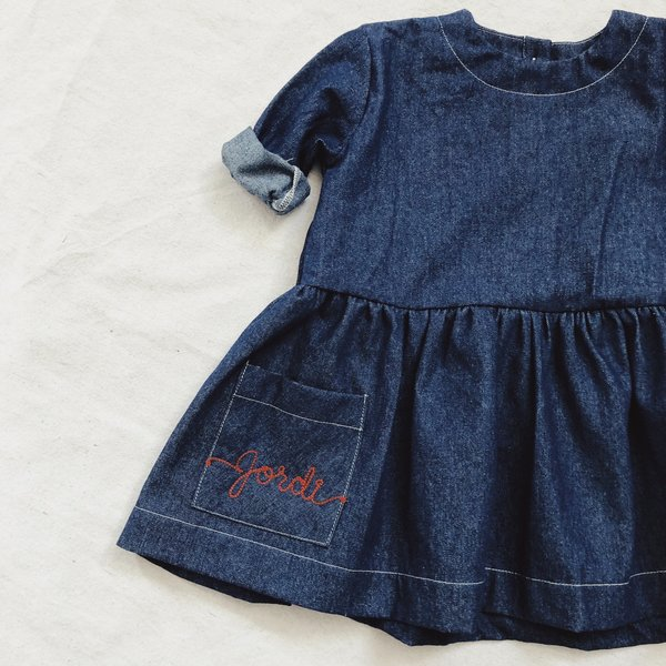 KIDS Hey Gang Denim Pocket Dress - Dark Denim