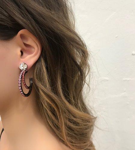 Joomi Lim Asymmetrical Crystal Hoop Earrings - Hematite/Pink