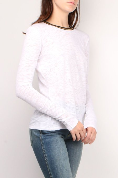 GOLDIE Long Sleeve Tipped Tee - White