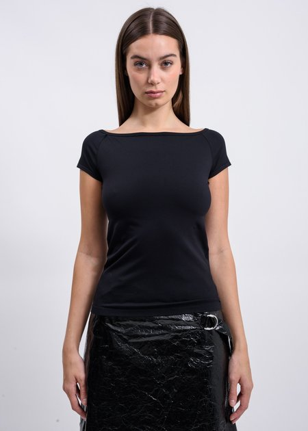Helmut Lang Open Boat Neck T-Shirt - Black