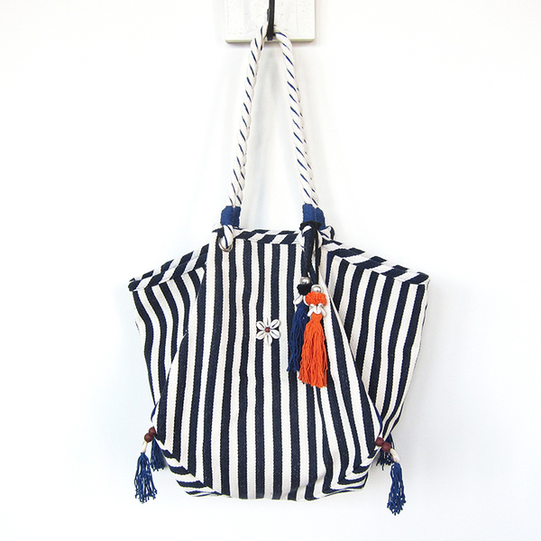Jade Tribe Valerie rope beach bag - navy from Task | Garmentory