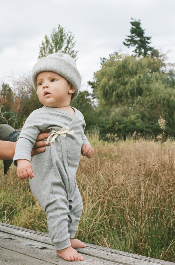 KIDS Petits Vilains Noé Wrap Onesie - Heather Grey