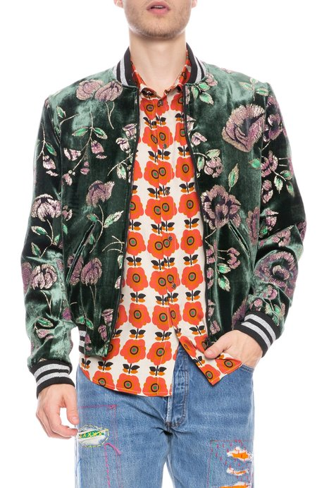Garcons Infideles Embroidered Floral Bomber Jacket - green
