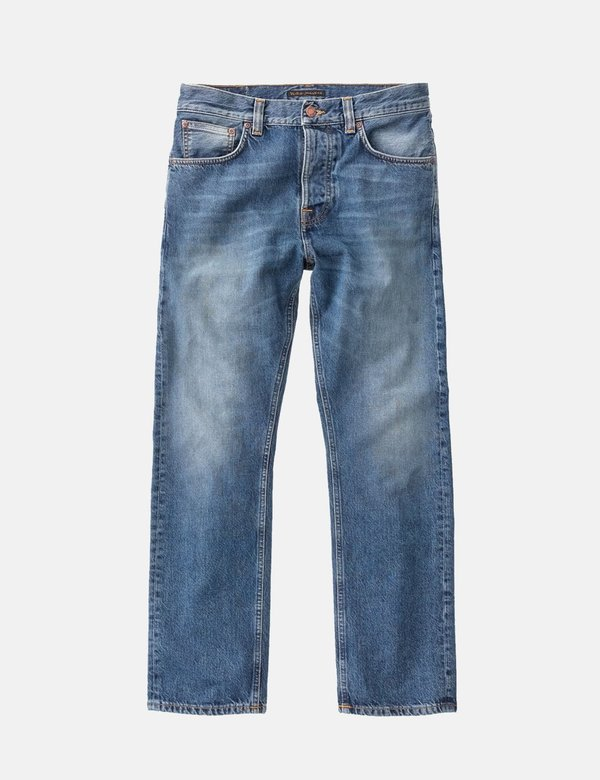 Nudie Sleepy Sixten Relaxed Straight Jeans - Celestial Orange Blue