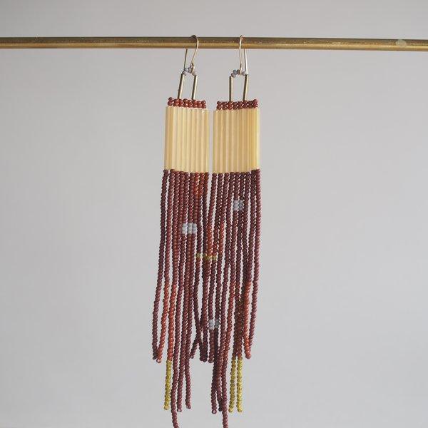 Lu in the Frey Long Beads Dangler Earrings