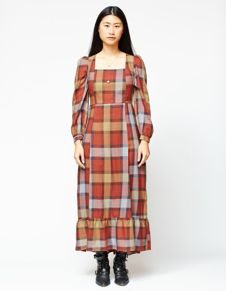 Gravel & Gold Velutina Dress - Plaid
