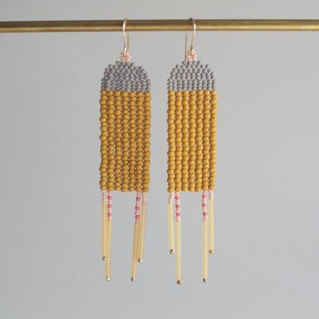 Lu in the Frey Rectangle Dangler Earrings - Yellow