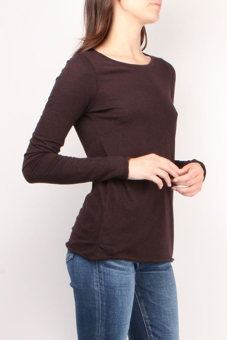 ATM Heather Destroyed Long sleeve Crew - Heather Maroon