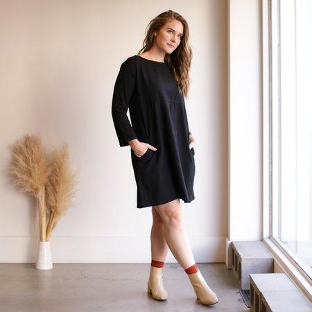 Me and Arrow Mid Sleeve Dress - Black Flannel
